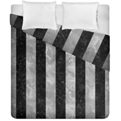 Stripes1 Black Marble & Gray Metal 2 Duvet Cover Double Side (california King Size)