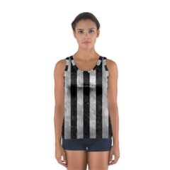 Stripes1 Black Marble & Gray Metal 2 Sport Tank Top