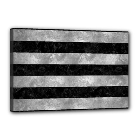 Stripes2 Black Marble & Gray Metal 2 Canvas 18  X 12