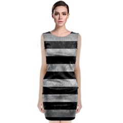 Stripes2 Black Marble & Gray Metal 2 Classic Sleeveless Midi Dress