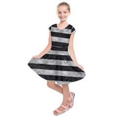Stripes2 Black Marble & Gray Metal 2 Kids  Short Sleeve Dress