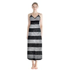 Stripes2 Black Marble & Gray Metal 2 Button Up Chiffon Maxi Dress
