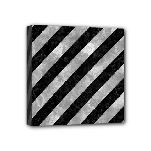 Stripes3 Black Marble & Gray Metal 2 Mini Canvas 4  X 4