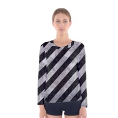 Stripes3 Black Marble & Gray Metal 2 Women s Long Sleeve Tee