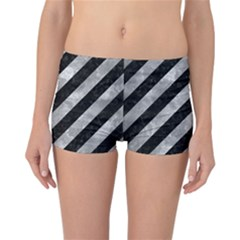 Stripes3 Black Marble & Gray Metal 2 Reversible Boyleg Bikini Bottoms