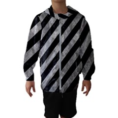 Stripes3 Black Marble & Gray Metal 2 Hooded Wind Breaker (kids)