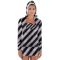 Stripes3 Black Marble & Gray Metal 2 Long Sleeve Hooded T Shirt