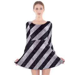 Stripes3 Black Marble & Gray Metal 2 Long Sleeve Velvet Skater Dress