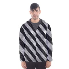 Stripes3 Black Marble & Gray Metal 2 (r) Hooded Wind Breaker (men)