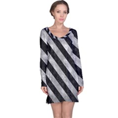 Stripes3 Black Marble & Gray Metal 2 (r) Long Sleeve Nightdress