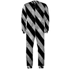 Stripes3 Black Marble & Gray Metal 2 (r) Onepiece Jumpsuit (men)