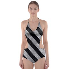 Stripes3 Black Marble & Gray Metal 2 (r) Cut Out One Piece Swimsuit