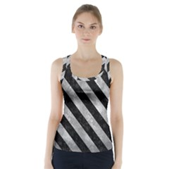 Stripes3 Black Marble & Gray Metal 2 (r) Racer Back Sports Top