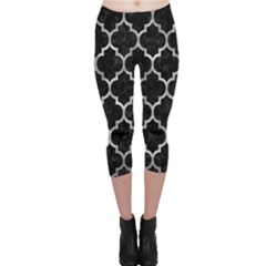 Tile1 Black Marble & Gray Metal 2 Capri Leggings
