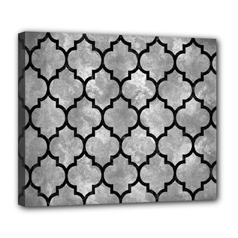 Tile1 Black Marble & Gray Metal 2 (r) Deluxe Canvas 24  X 20