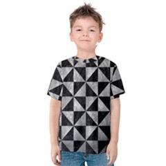 Triangle1 Black Marble & Gray Metal 2 Kids  Cotton Tee
