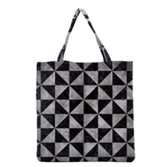 Triangle1 Black Marble & Gray Metal 2 Grocery Tote Bag