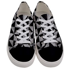 Triangle1 Black Marble & Gray Metal 2 Women s Low Top Canvas Sneakers