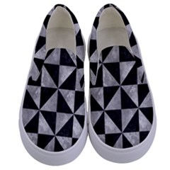 Triangle1 Black Marble & Gray Metal 2 Kids  Canvas Slip Ons