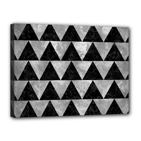 Triangle2 Black Marble & Gray Metal 2 Canvas 16  X 12