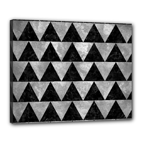 Triangle2 Black Marble & Gray Metal 2 Canvas 20  X 16
