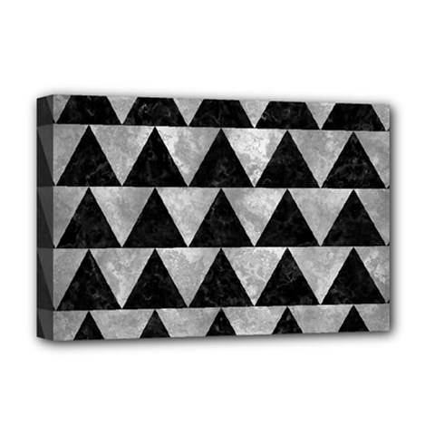 Triangle2 Black Marble & Gray Metal 2 Deluxe Canvas 18  X 12