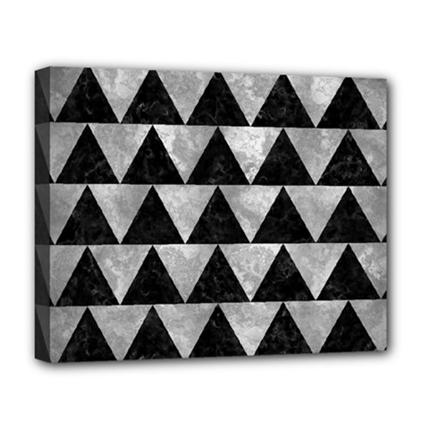 Triangle2 Black Marble & Gray Metal 2 Deluxe Canvas 20  X 16