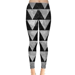 Triangle2 Black Marble & Gray Metal 2 Leggings