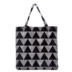 Triangle2 Black Marble & Gray Metal 2 Grocery Tote Bag