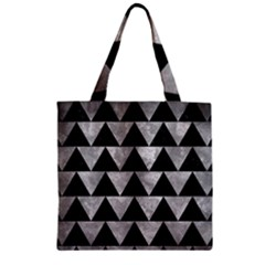 Triangle2 Black Marble & Gray Metal 2 Zipper Grocery Tote Bag