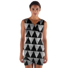 Triangle2 Black Marble & Gray Metal 2 Wrap Front Bodycon Dress