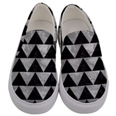 Triangle2 Black Marble & Gray Metal 2 Men s Canvas Slip Ons