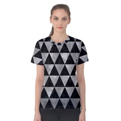 Triangle3 Black Marble & Gray Metal 2 Women s Cotton Tee