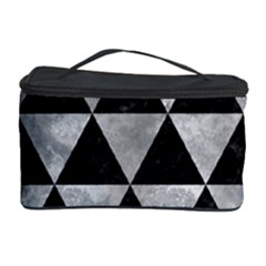 Triangle3 Black Marble & Gray Metal 2 Cosmetic Storage Case