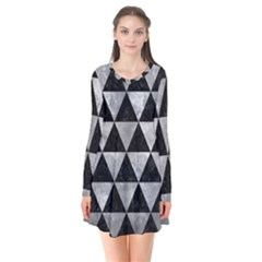 Triangle3 Black Marble & Gray Metal 2 Flare Dress