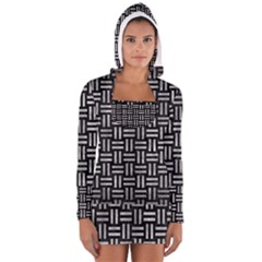 Woven1 Black Marble & Gray Metal 2 Long Sleeve Hooded T Shirt