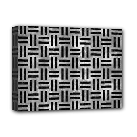 Woven1 Black Marble & Gray Metal 2 (r) Deluxe Canvas 16  X 12