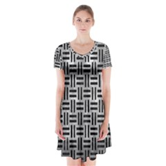 Woven1 Black Marble & Gray Metal 2 (r) Short Sleeve V Neck Flare Dress