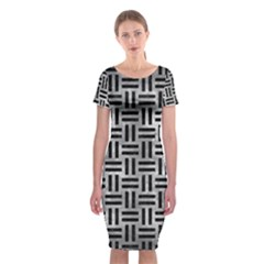 Woven1 Black Marble & Gray Metal 2 (r) Classic Short Sleeve Midi Dress