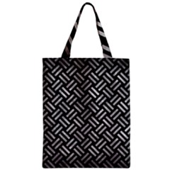 Woven2 Black Marble & Gray Metal 2 Zipper Classic Tote Bag