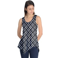 Woven2 Black Marble & Gray Metal 2 Sleeveless Tunic