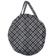 Woven2 Black Marble & Gray Metal 2 Giant Round Zipper Tote