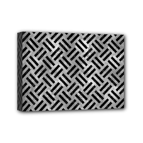 Woven2 Black Marble & Gray Metal 2 (r) Mini Canvas 7  X 5