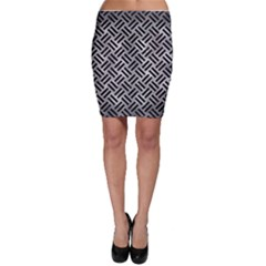 Woven2 Black Marble & Gray Metal 2 (r) Bodycon Skirt