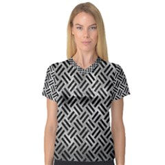 Woven2 Black Marble & Gray Metal 2 (r) V Neck Sport Mesh Tee
