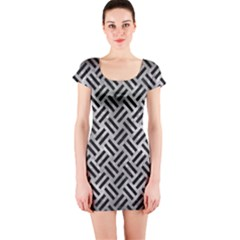Woven2 Black Marble & Gray Metal 2 (r) Short Sleeve Bodycon Dress