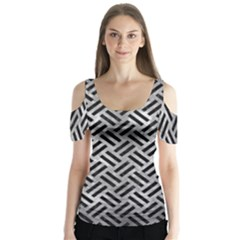 Woven2 Black Marble & Gray Metal 2 (r) Butterfly Sleeve Cutout Tee