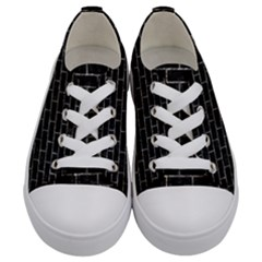 Brick1 Black Marble & Gray Stone Kids  Low Top Canvas Sneakers