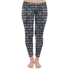 Brick1 Black Marble & Gray Stone (r) Classic Winter Leggings
