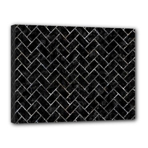 Brick2 Black Marble & Gray Stone Canvas 16  X 12